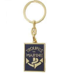 Porte clé à relief Troupe De Marine en metal or et bleu