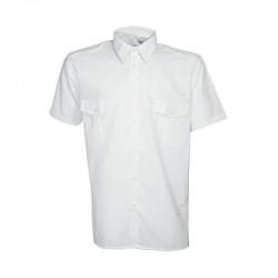 Chemise pilote à manches courtes blanche Cityguard avec 2 poches sur la poitrine et 2 épaulettes