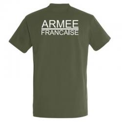 T-Shirt Impression Armée Française Vert Armée de Dos