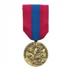 La médaille de la Défense nationale présente une effigie de la République, entourée de la mention gravée République française.