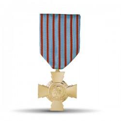 Médaille présentant une croix pattée à quatre branches monobloc, au centre l'effigie de la République