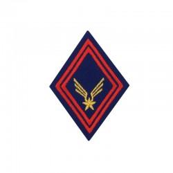Ecusson bras brodé ALAT rouge et or sur un losange bleu roi