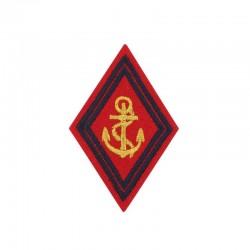 Ecusson bras losange à fond rouge brodé or Artillerie de Marine