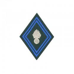 Ecusson de bras losange pour officier et sous-officier brodé bleu et argent sur fond vert armée