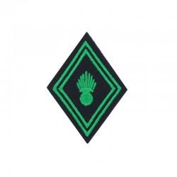 Ecusson de bras losange brodé vert clair sur fond noir pour soldat, caporal et caporal chef de Troupe ABC Chasseur