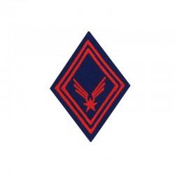 Ecusson de bras losange Troupe ALAT brodé rouge sur un fond bleu roi