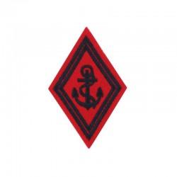 Ecusson de bras losange Troupe Artillerie de Marine brodé noir sur un fond rouge