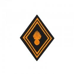 Ecusson de bras losange Troupe Chasseur Parachutiste brodé orange sur un fond noir