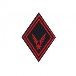 Ecusson de bras losange Troupe Infanterie ALAT brodé rouge sur un fond noir