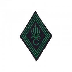 Ecusson de bras losange troupe légion brodé vert armée sur un fond noir