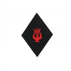 Ecusson de bras losange Troupe Musique brodé lyre rouge sur un fond noir