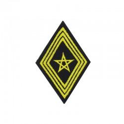 Ecusson de bras losange de troupe spahis brodé jaune sur un fond noir