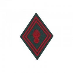 Ecusson de bras losange troupe train brodé rouge sur un fond vert armée