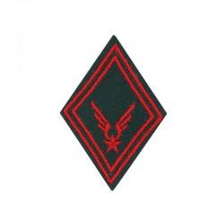 Ecusson de bras troupe train ALAT brodé rouge sur un fond vert