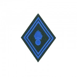 Ecusson de bras losange troupe train parachutiste brodé bleu sur un fond vert armée