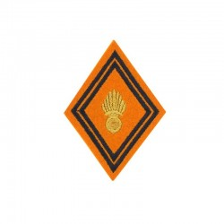 Ecusson de bras losange troupe d'unité géographique brodé or et noir sur un fond orange